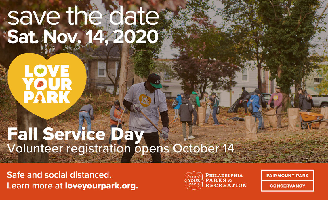 Save the date for the Love Your Park Fall Service Day on Saturday, November 14. Events will be safe and social distanced! Volunteer registration opens October 14.